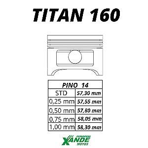 PISTAO KIT TITAN 160 / FAN 160 / BROS 160 METAL LEVE 0,25
