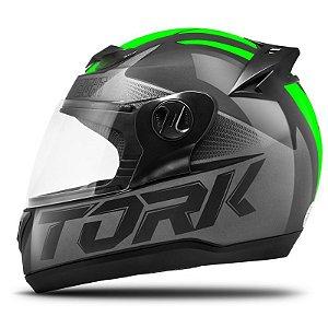 CAPACETE PRO TORK EVOLUTION 788 G7 PRO PRETO FOSCO C/ VERDE 58