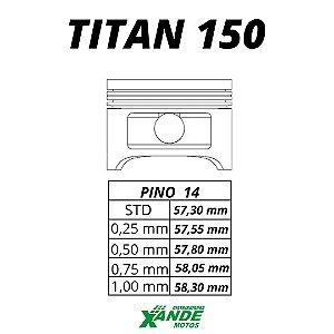PISTAO KIT TITAN 150 TODOS OS ANOS / NXR BROS 150 2006 EM DIANTE MHX 3,00