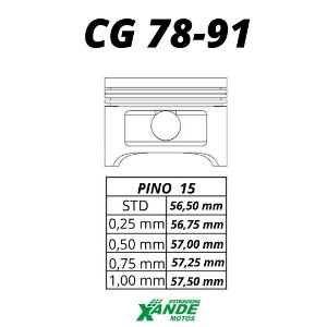 PISTAO KIT CG 125 1978-1991 MHX 1,50