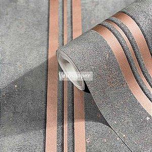 Papel de parede Listra Rose Gold e Cimento Queimado EPLCIGL32637