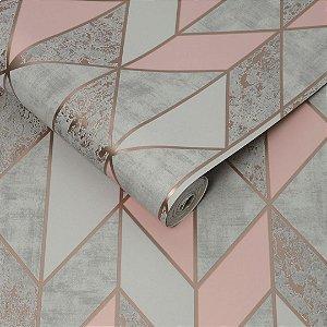 Papel de parede Geometrico Rosa Lanc
