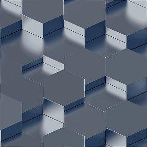 Papel de Parede 3D Geometrico Azul Star