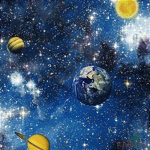 Papel de Parede Espaço e Planetas azul - hello Kids