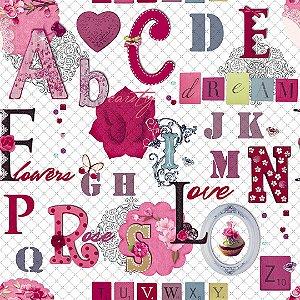 Papel de Parede Letras e Flores Pink Kids Teens