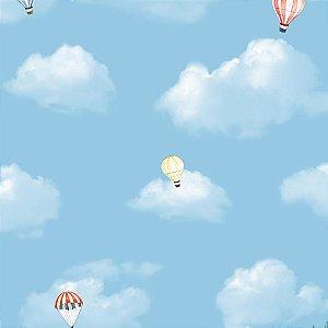 Papel de Parede Nuvens Azuis e Balões Hello Kids