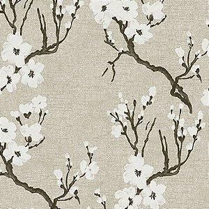 Papel de Parede Folhagem Cerejeira Branco e Fendi - Element