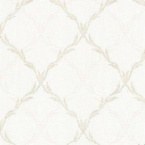 Papel de Parede Arabesco Geometrico Creme e Dourado com brilho - Moda