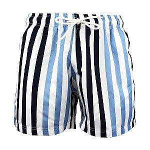 Short Masculino Estampado Listrado Azul