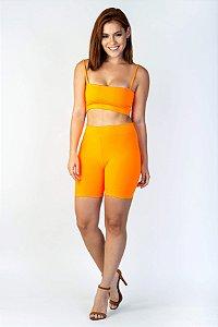 Bike Shorts Feminino Laranja Neon