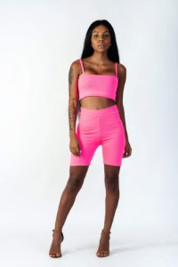 Bike Shorts Feminino Rosa Neon