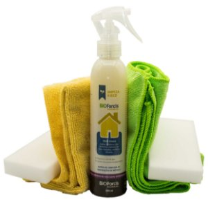 Produto Limpeza de Casa a Seco BioForcis Casa 200ml com Flanela Microfibra