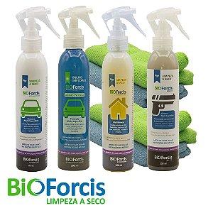 Kit Profissional Limpeza a Seco Auto, Brilho , Casa, Bélico 200ml e 4 Microfibras