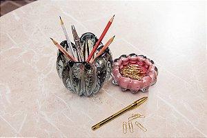 Kit Murano Cachepot Charming + Cachepot Téo - Grafite e Rosa