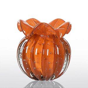Vaso de Decoração em Murano - Trouxinha Love - Laranja Tangerine - Tam P