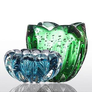 Kit Murano - Cachepot Charming + Cachepot Téo - Verde Esmeralda e Aquamarine