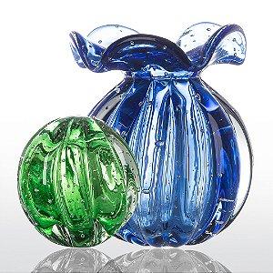 Kit Murano Esfera Dear Verde Esmeralda e Trouxinha Love Azul Safira