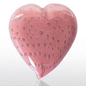 Coração de decoração em Murano Rosa