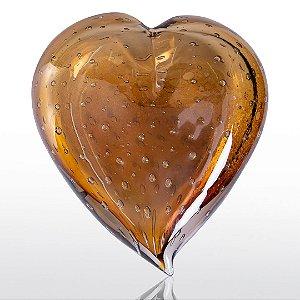 Coração de decoração em Murano Ambar