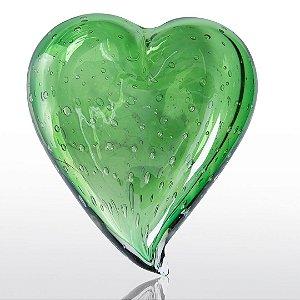 Coração de decoração em Murano Verde Esmeralda