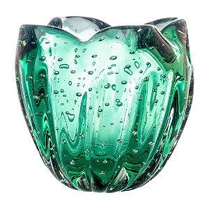 Cachepot de Decoração em Murano - Verde Esmeralda - Charming - Tam PP