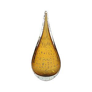 Gota de Decoração em Murano - Ambar - Leaf - Tam P