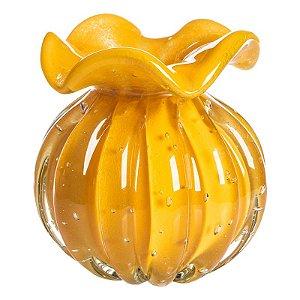 Vaso de Decoração em Murano - Trouxinha Love - Amarela - Tam M