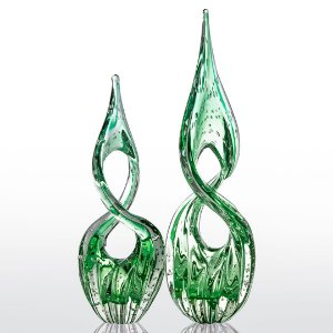 Kit Murano - 2 Adornos Modelo Eight - Verde Esmeralda
