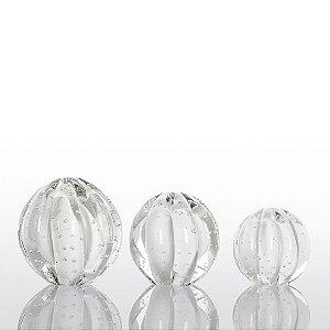 Kit Murano - 3 Esferas Modelo Dear  - Branca