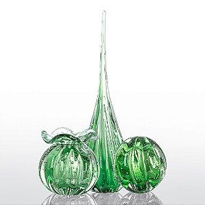 Kit Murano Trouxinha - Gota - Esfera - Verde Esmeralda