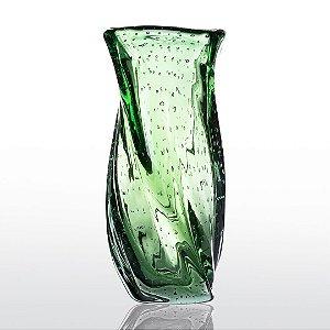 Vaso de Decoração em Murano - Verde Esmeralda - Twist - Tam G