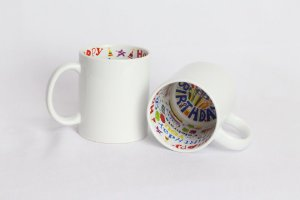 Caneca Porcelana Branca Interior Happy