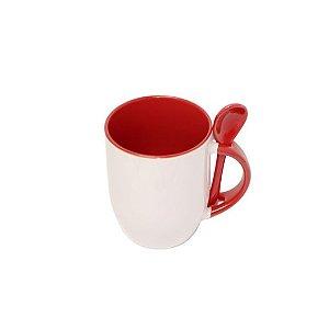 Caneca Porcelana com Colher - Vermelha