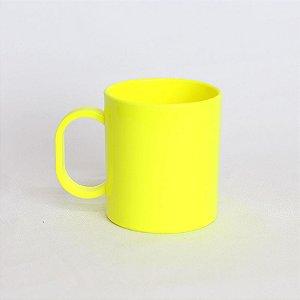 Caneca Plástica Sublimação Premium Amarelo Neon