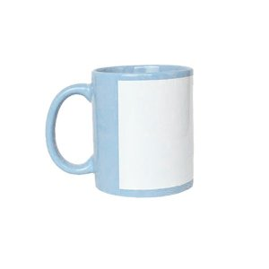 Caneca Porcelana Tarja Branca - Azul BB