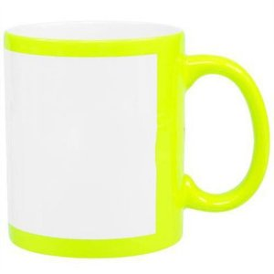 Caneca Porcelana Tarja Branca - Amarelo