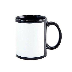 Caneca Porcelana Tarja Branca - Preta
