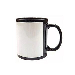Caneca Porcelana  Preta Com Tarja - BRANCA