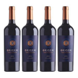 Kit 4 Vinhos Tinto Seco Origem Merlot Casa Valduga 750ml