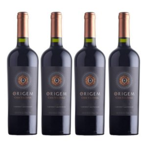 Kit 4 Vinhos Tinto Seco Origem Cabernet Sauvignon Chile Casa Valduga 750ml