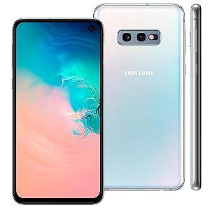 "Smartphone Samsung Galaxy S10e Branco 128GB, 6GB RAM, Tela Infinita 5.8"", Câmera Traseira Dupla, Dual Chip, PowerShare, Leitor Digital, Android 9.0"