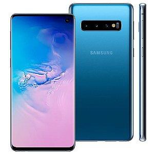"""Smartphone Samsung Galaxy S10 Azul 128GB, 8GB RAM, Tela Infinita de 6.1"""", Câmera Traseira Tripla, Dual Chip, PowerShare, Leitor Digital, Android 9.0"""