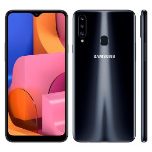 """Smartphone Samsung Galaxy A20s Preto 32GB, Câmera Tripla Traseira, Selfie de 8MP, Tela Infinita de 6.5"""", Leitor de Digital, Octa Core e Android 9.0"""