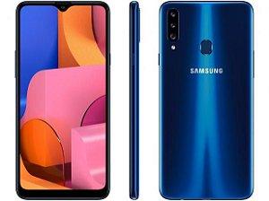 """Smartphone Samsung Galaxy A20s Azul 32GB, Câmera Tripla Traseira, Selfie de 8MP, Tela Infinita de 6.5"""", Leitor de Digital, Octa Core e Android 9.0"""