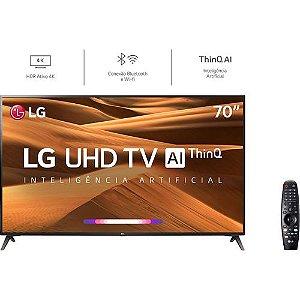 Smart TV LED 70'' LG 70UM7370 Ultra HD 4K Thinq AI Conversor Digital Integrado 3 HDMI 2 USB Wi-Fi