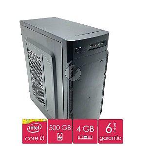 Computador Intel Core i3, 4GB DDR3 + HD 500GB SATA + Win10 - Desktop Novo
