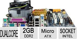 Kit  Placa Mãe Gigabyte + Dual Core + Cooler + 2 Giga