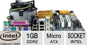 Kit Completo Placa Mãe Intel Lga 775 + Celeron 2.0 + 1 Giga