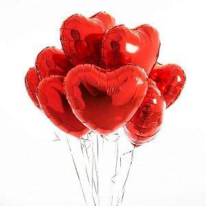 Balão Coração Metalizado Vermelho