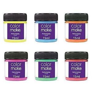 Kit Tinta Facial Fluorescente com 6 Cores